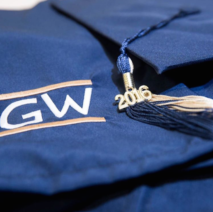 GW Graduation Cap at 2016 Commencement