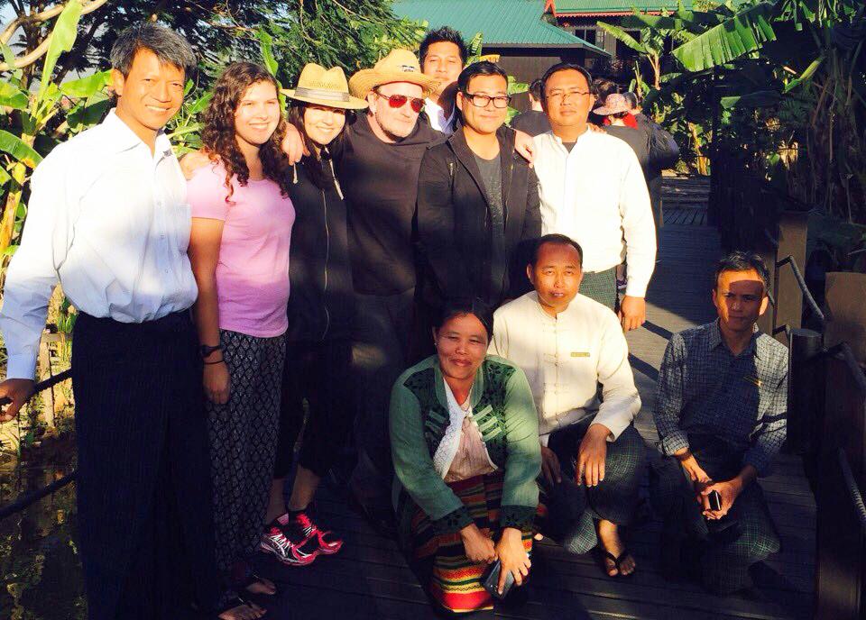 Iris Bercovitz, other teachers, and Bono in Myanmar through Volunteers in Asia