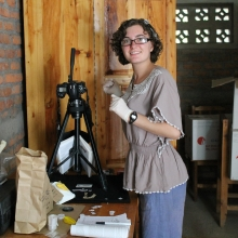 Alexandra Kralick photographing mountain gorilla teeth in Rwanda
