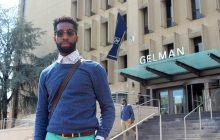 Cyprian Christian in front of Gelman Library