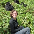 Alexandra Kralick tracking mountain gorillas in Rwanda