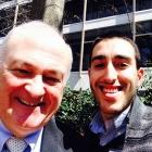 Michael Velez with GW President Knapp